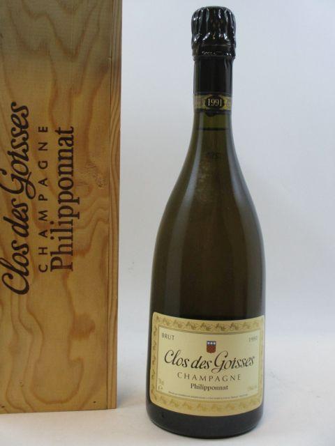 1 bouteille CHAMPAGNE PHILIPPONNAT 1991 Clos des Goisses (Dégorgé en mars 2002) Caisse bois d''origine (cave 16)