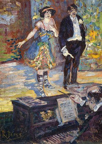 Richard BLOOS (1878 - 1956) SCENE DE CAFE-CONCERT Huile sur toile