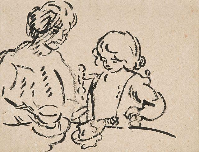 Louis VALTAT (Dieppe, 1869 - Paris, 1952) LE PETIT DEJEUNER Dessin à l'encre sur papier