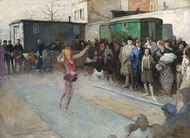 Edgar CHAHINE (1874 - 1947) L'ACROBATE, 1939 Huile sur carton