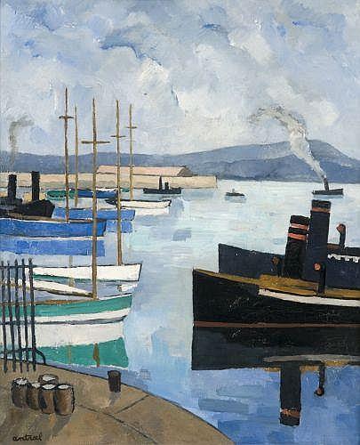 Louis Robert ANTRAL (1895-1940) LE PORT DE TOULON Huile sur toile