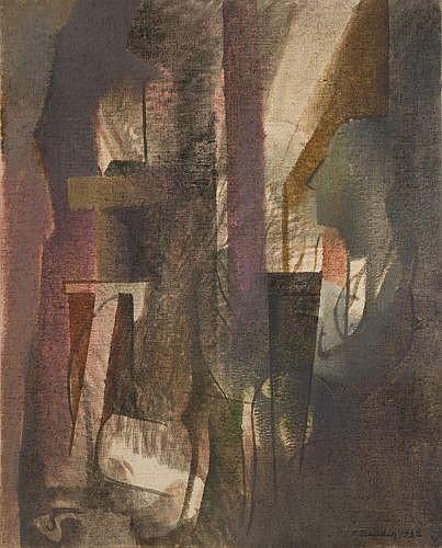 André BEAUDIN (Mennecy, 1895 - 1979) L'ATELIER, 1932 Huile sur toile de jute