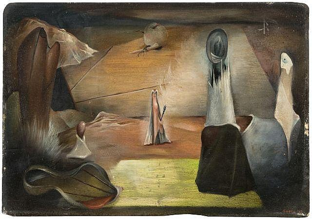 Henri GOETZ (1909-1989) COMPOSITION SURREALISTE, 1943 Huile sur panneau
