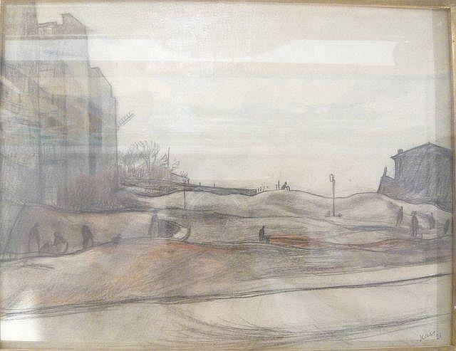 Georges KARS (Kralupy, 1882- Genève, 1945) PARIS, LA ZONE, 1921 Crayon et sanguine et encre sur papier