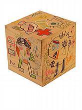 JAZZU (Né en 1983) CHILD BOX - LA VIE EST UNE FÊTE, 2014 Technique mixte sur structure en bois