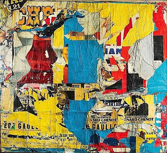 JACQUES VILLEGLE (né en 1926) QUAI DES CELESTINS, 20 mars 1965 affiches lacérées marouflées sur toile