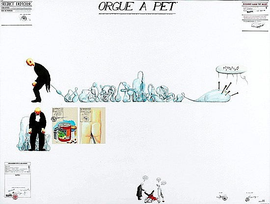 Gilles BARBIER (né en 1965) ORGUE A PET, 3 octobre 1995 gouache et encre et collage sur papier