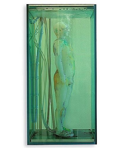 Fabrice HYBERT (né en 1961) AUTOPORTAIT, 1998 figure en silicone chirurgicale, nacre et pastel,