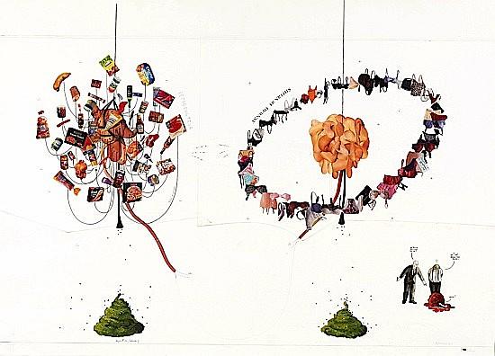 Gilles BARBIER (né en 1965) LE REPRODUCTEUR, 1996 technique mixte et collage sur papier