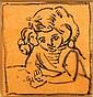 Louis VALTAT (Dieppe, 1869 - Paris, 1952) JEAN ACCOUDE Dessin à l'encre sur calque orange