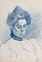 Théophile Alexandre STEINLEN (Lausanne, 1859- Paris, 1923) PORTRAIT DE FEMME Dessin double face au crayon bleu