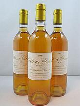 3 bouteilles CHÂTEAU CLIMENS 1990 1er Cru Barsac (étiquettes léger déchirées)