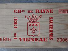 12 bouteilles CHÂTEAU DE RAYNE VIGNEAU 2006 1er Cru Sauternes Caisse bois d'origine (2 x 6 bouteilles)