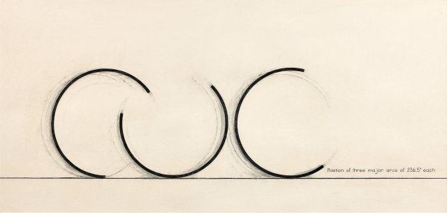 ¤ Bernar VENET (Né en 1941) POSITION OF THREE MAJOR ARCS OF 236.5° EACH - 1979 Fusain, graphite et collage sur papier