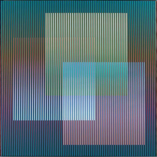 Carlos CRUZ-DIEZ (Né en 1923) COULEUR ADDITIVE 007/G - 2007 Chromographie à pigment sur toile montée sur panneau