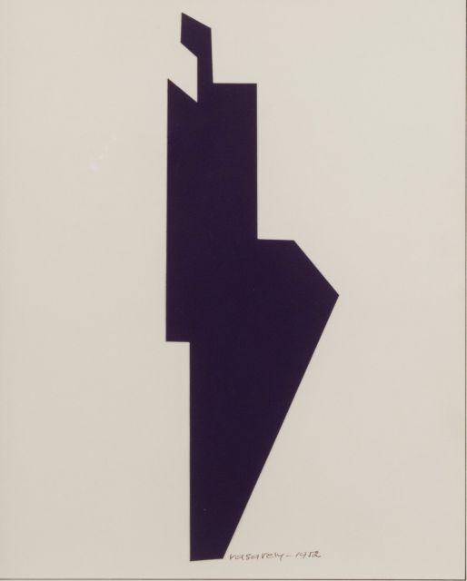 Victor VASARELY (1906 - 1997) SANS TITRE - 1952 Collage de papier sur carton
