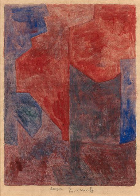 Serge POLIAKOFF (1900 - 1969) COMPOSITION ABSTRAITE - 1963 Gouache sur papier