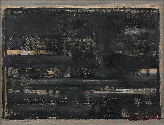 Maria Elena VIEIRA DA SILVA (1908 - 1990) LA NUIT, LE PORT - 1965 Huile sur papier marouflé sur toile