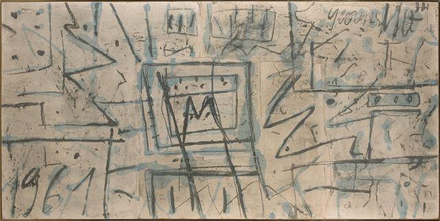 Georges NOEL (1924 - 2010) CONTREPOINT DE FORMES ET SIGNES - 1961 Technique mixte sur toile