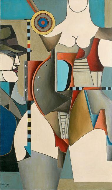 Richard LINDNER (1901 - 1978) STRANGER N°1 - 1958 Huile sur toile