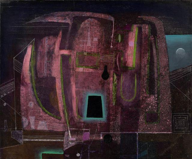 ¤ Antoni TAPIES (1923 - 2012) DISSECTION D'UN NOCTURNE - 1953 Huile sur toile