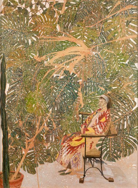 Sam SZAFRAN (Né en 1934) LILETTE EN IKAT ASSISE SUR UN BANC GAUDI - 2014-15 Aquarelle et pastel sur papier