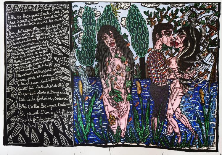 ¤ Robert COMBAS (Né en 1957) DANS L'EAU DE LA CLAIRE FONTAINE - 1992 Acrylique sur toile