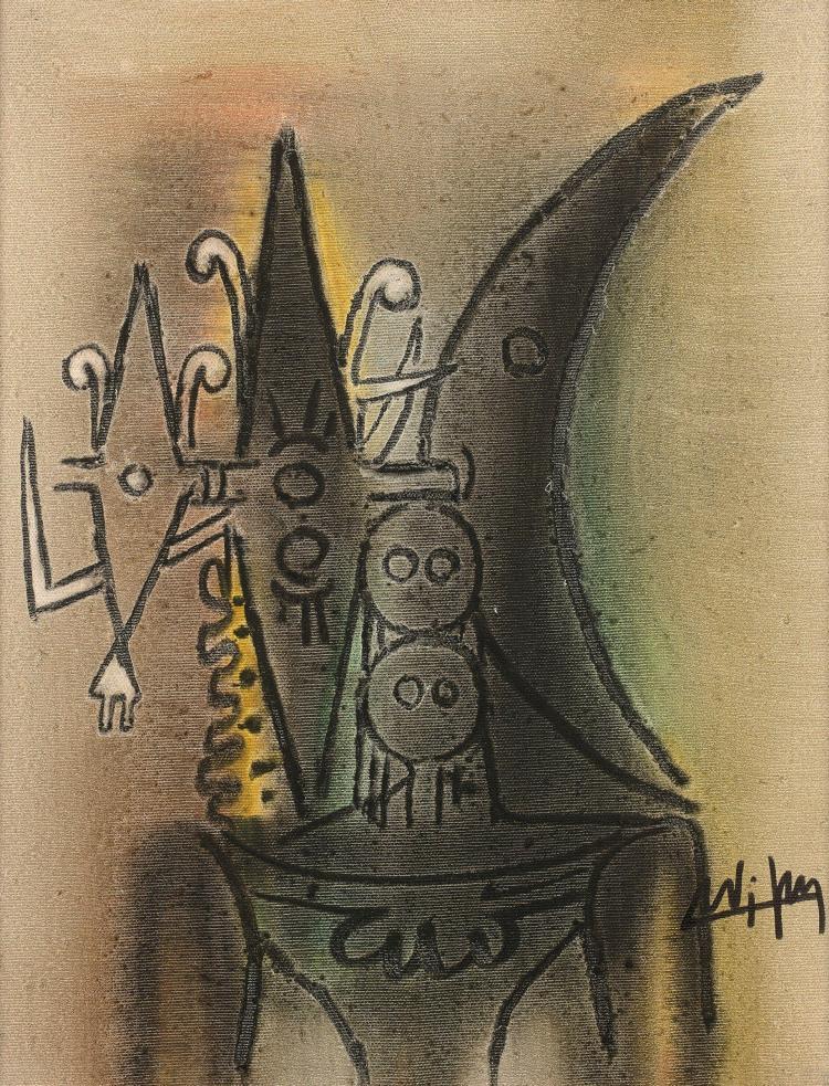 Wifredo LAM (1902 - 1982) SANS TITRE - 1973 Huile sur toile