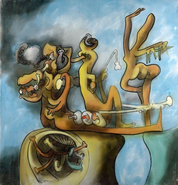 Roberto MATTA (1911 - 2002) ETRUSCULUDENS - 1970 Huile sur toile
