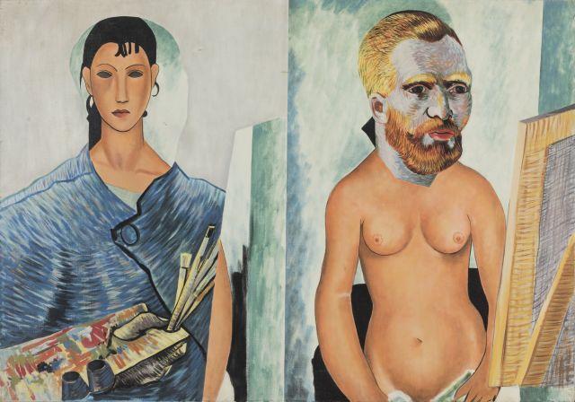 Gudmundur ERRO (Né en 1932) ELVIRA ET L'ARTISTE DEVANT SON CHEVALET - 1966 Huile sur toile
