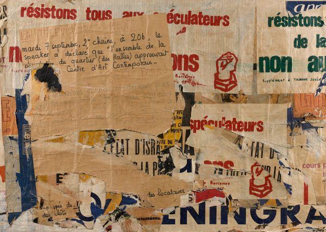 Jacques VILLEGLE (Né en 1926) RUE BRANTÔME 28 OCTOBRE 71 - 1971 Affiches lacérées marouflées sur toile