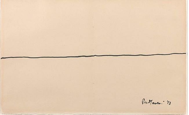 Piero MANZONI (1933-1963) SA DERNIERE LIGNE - 1963 Encre sur papier