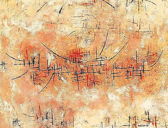 Don FINK (né en 1923) COMPOSITION, 1956 Huile sur papier marouflé sur toile