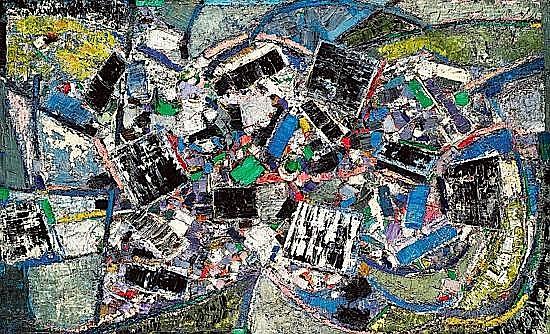 Oscar GAUTHIER (né en 1921) COMPOSITION, 1955 Huile sur toile