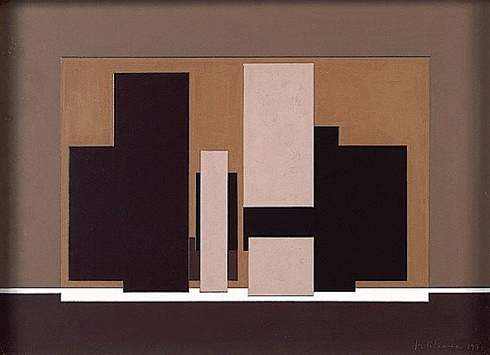 Marino DI TEANA (né en 1920) LA DEMEURE DE MON NEANT, 1977 Huile et crayon de papier sur carton