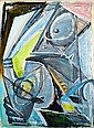 Charles LAPICQUE (1898-1988) L'HOMME AU CHIEN-LOUP, 1944 Huile sur toile, Charles Lapicque, Click for value