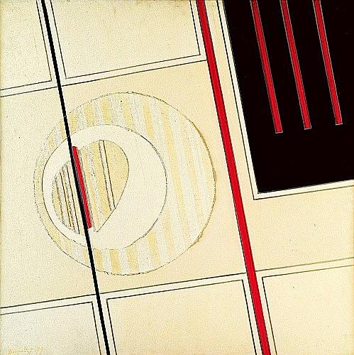 Silvano BOZZOLINI (Né en 1911) ROUGE-NOIR VARIATIONS BLANCS, 1979 Acrylique et collage sur toile