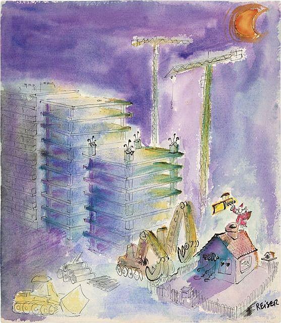 REISER (1941-1983) JOYEUX NOËL ! Encre de Chine et aquarelle de couleur pour une illustration publiée dans la revue mensuelle Ha...