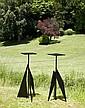 Philippe HIQUILY (1925-2013) ENSEMBLE DE DEUX SELLETTES, 2006 Sculptures en acier à patine noire
