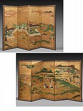 PAIRE DE PARAVENTS À QUATRE FEUILLES ET CINQ FEUILLES SUR PAPIER À FOND OR, JAPON, PÉRIODE EDO, XVIIIe SIÈCLE