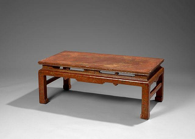 Table basse en laque rouge et d cor or chine xviie si cle - Table basse rouge laque ...