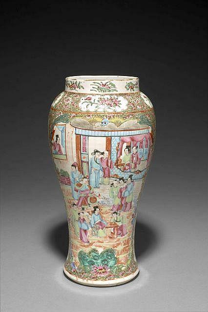 Vase en porcelaine de canton chine dynastie qing fin du x for Porcelaine de chine