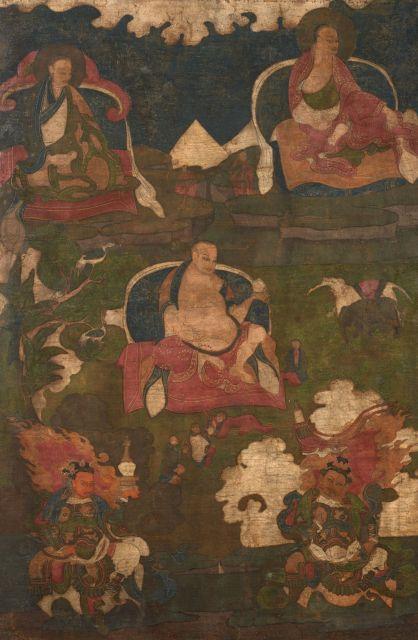 THANGKA DE HVASHANG MOHEYAN ENCADRÉE, SINO-TIBÉTAIN, XVIIIe SIÈCLE