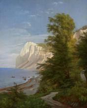 Carl Frederik AAGAARD Odense, 1833 - Copenhague, 1895 Vue des Møns Klint Huile sur toile (Toile d'origine)