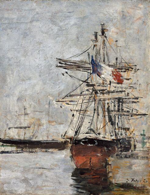 Eugène BOUDIN 1824 - 1898 Voilier au port Huile sur panneau parqueté