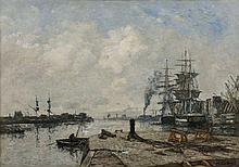 ¤ Eugène BOUDIN 1824 - 1898 Boulogne-sur-mer, le port - Circa 1891-1893 Huile sur toile