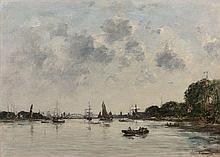 ¤ Eugène BOUDIN 1824 - 1898 Dordrecht, la Meuse - 1884 Huile sur toile