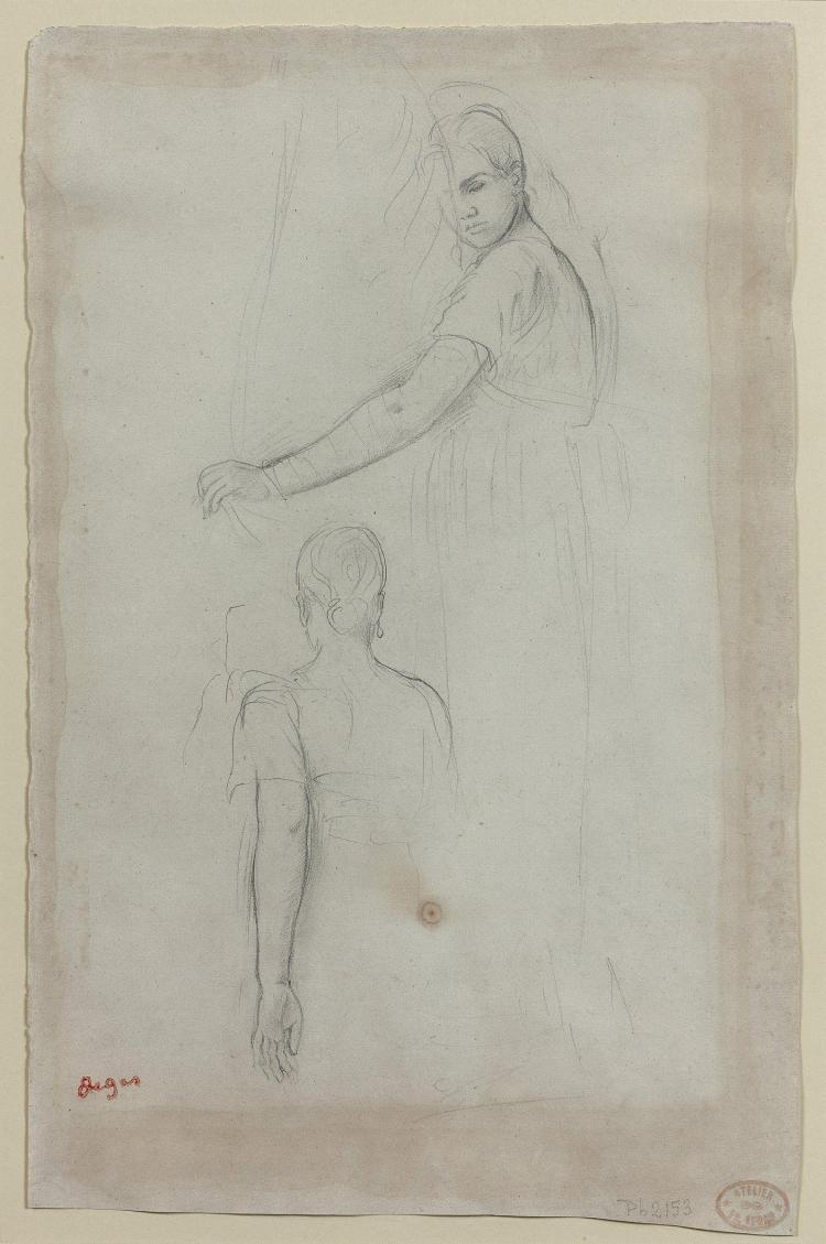 Edgar DEGAS 1834 -1917 Etude de figures Mine de plomb sur papier