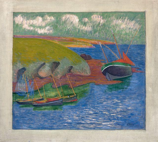 Emile JOURDAN 1860 - 1931 Sardiniers sur côte rocheuse - 1914 Huile sur toile
