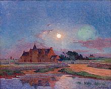 Ferdinand du PUIGAUDEAU 1864 - 1930 Kervaudu, au clair de lune, Le Croisic Huile sur toile
